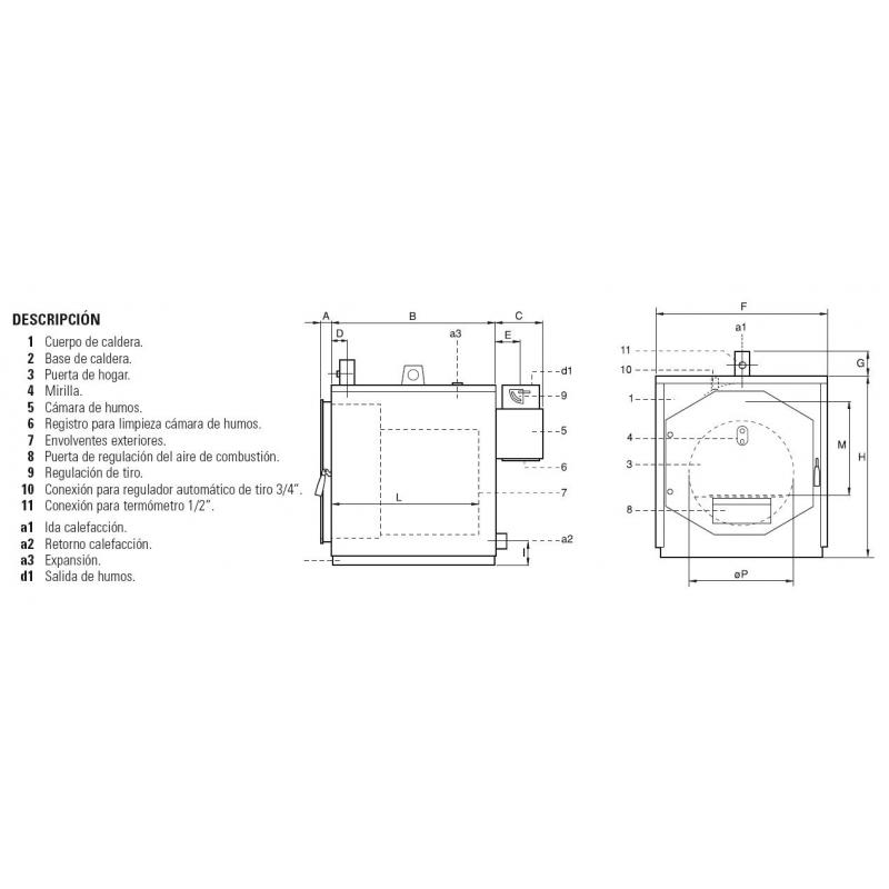 Calderas de le a ferroli tl 19 20 materiales calefacci n for Calderas para calefaccion central a lena